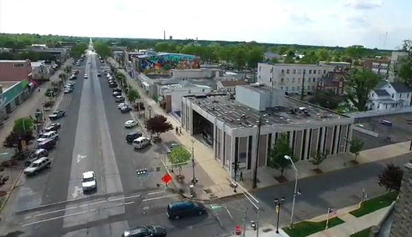 aerial view of The Ave in Downtown Vineland NJ