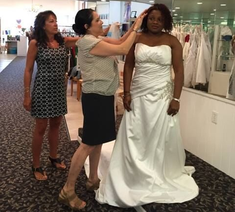 trying on wedding dresses in Downtown Vineland NJ